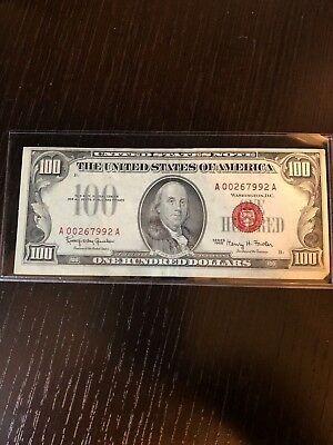 1966 $100 United States Note - Red Seal - A00267992 A