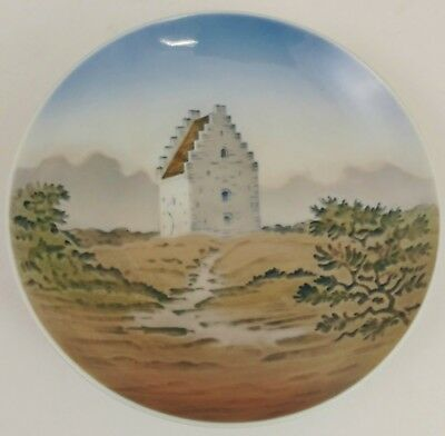 Vintage PORCELAIN Round ROYAL COPENHAGEN Hand Painted Round PLATE Scenic TRAY #2