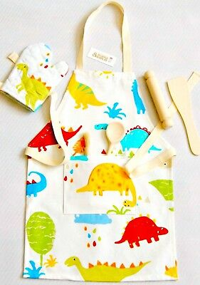Kid's Apron set, Boy, Girl, Junior Dinosaur Print Apron, Mitt & Wood Utensils