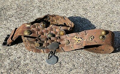 WWII Original Military Hate Belt With 17 Items On It / Including Two US Dog Tags