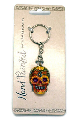 HAND PAINTED SUGER SKULL DAY OF THE DEAD Orange KEYCHAIN  GREAT GIFT IDEA