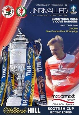 Bonnyrigg Rose v Cove Rangers Scottish Cup 2nd Round 22/10/16 programme MINT