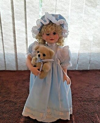 "Paradise Galleries By Patricia Rose Porcelain 13"" Doll with Bear Signed Numbered"