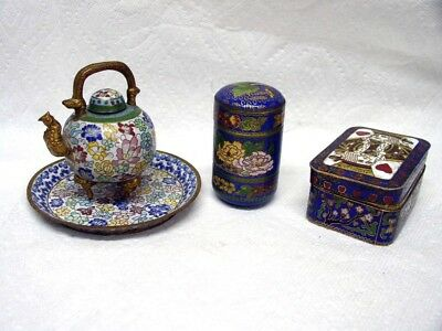 Vintage Chinese Cloisonne Teapot, Three Tier Canister And Deck Of Cards Holder