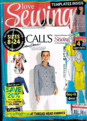 Love Sewing Magazine #57 - 2018 In Sealed Pack With Free Patterns  ~