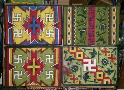 4 Vintage Tobacco Felt Flannel Flags Native American with Lucky Swastika Emblem