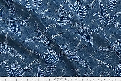 Sashiko Blue Birds Japanese Embroidery Faux Fabric Printed by Spoonflower BTY