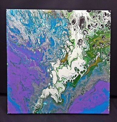 "Original Fluid Acrylic Pour Abstract Painting on 12x12"" Stretched Canvas"