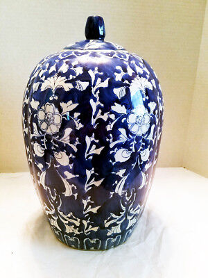 Vintage or Antique, Stamped, Large Blue & White Ginger Jar With Lid