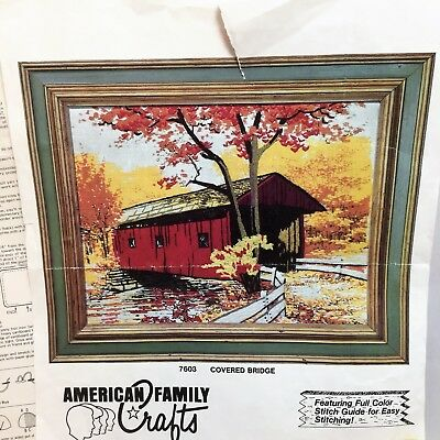 VTG Covered Bridge Crewel Embroidery Kit Linen 7603 American Family Crafts 11x14