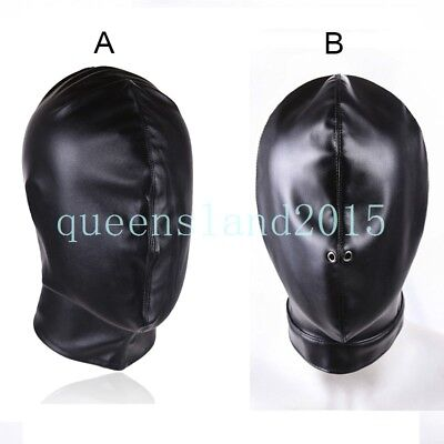 PU Leather Full Head Hood Mask Blind Restraint Breathing Harness Slave Fetish