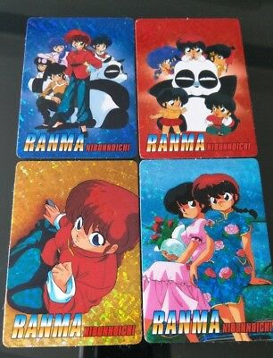 Vintage 90s Lot of 4 Ranma Nibunnoichi / Ranma 1/2 Foil Stickers With Card Backs