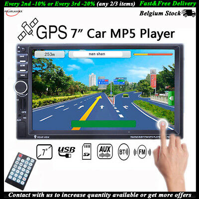 "7"" HD 2DIN Stereo  MP5 Player Touch Car Radio Bluetooth GPS TF/AUX/FM/USB Remote"