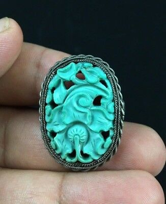 Gorgeous Antique Chinese Turquoise & Silver Ring With Floral Design