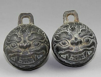 Exquisite A Pair Chinese Bronze Tiger Head Bell