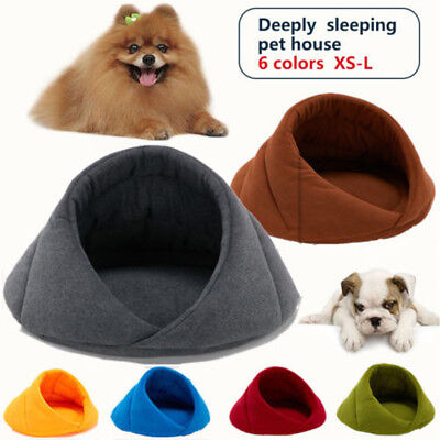 Pet Cat Dog Nest Bed Puppy Soft Warm Cave House Sleeping Bag Mat Pad XS S M L