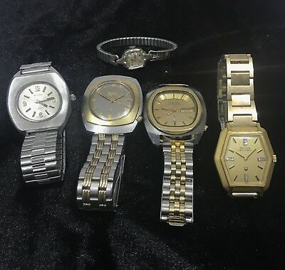 Bulova Vintage Lot of 5 Watches Jewel Antique Men Lady's Wristwatches Swiss Time