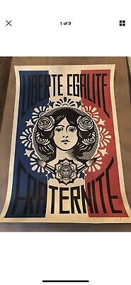 SIGNED Shepard Fairey Liberte Egalite Fraternite Print Poster Obey Giant 24 x 36