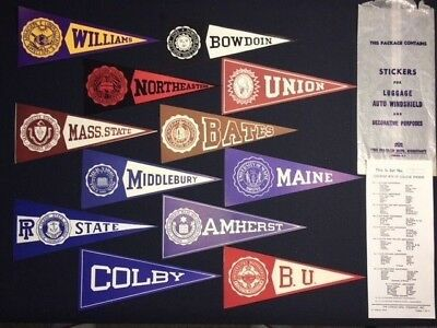 12 Vintage College Pennant Flag Steamer Trunk Decal Sticker Williams Union Bates