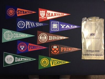 10 Vintage College Pennant Flag Steamer Trunk Decal Sticker Harvard Penn Yale
