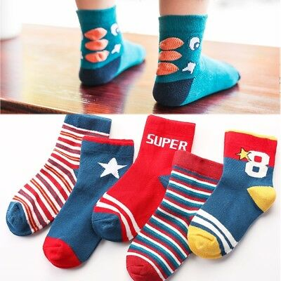 5 Pairs Infant Baby Toddler Ankle Socks Cotton Kids Girls Boys Cartoon Soft Sock