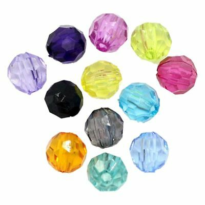 """1X(500pcs Plastic Spacer Beads Faceted Round Ball Random Color 6mmx6mm(2/8"""" K4F6"""