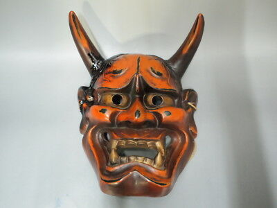 JAPANESE OLD DEMON DEVIL LACQUER MASK HANNYA NOH Pottery 1018-4P
