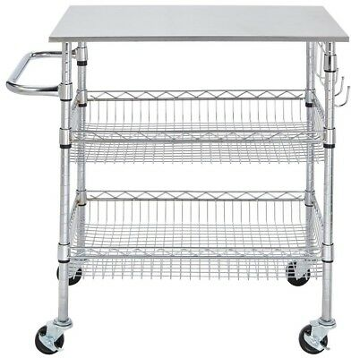 KITCHEN CART/SERVICE TROLLEY Chrome-Stainless Steel Top w/ 2-Height Wire  Basket