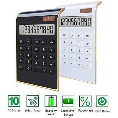 Ultra-thin Office Home Desktop Calculator Large LCD Display With Dual Power NEW