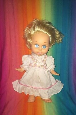 """1990 Galoob Baby Face---So Innocent Cynthia---13"""" Poseable Jointed Blonde Doll"""