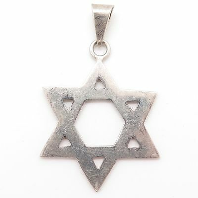 Vintage 925 Sterling Silver Religious Star of David Pendant