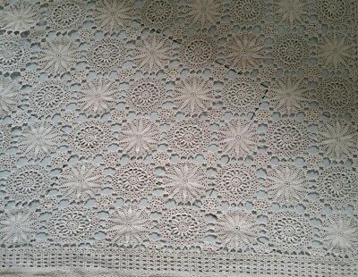 crocheted tablecloth vintage huge 249 x 252