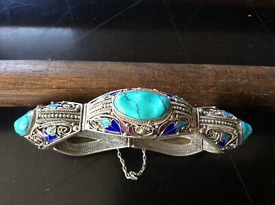 Stunning Antique Vintage Chinese Export Enamel and Turquoise Stone Bracelet