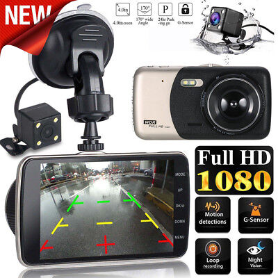 4'' LCD IPS Dual Lens Car Dash Cam FHD 1080P Dashboard Camera 170° Driving DVR