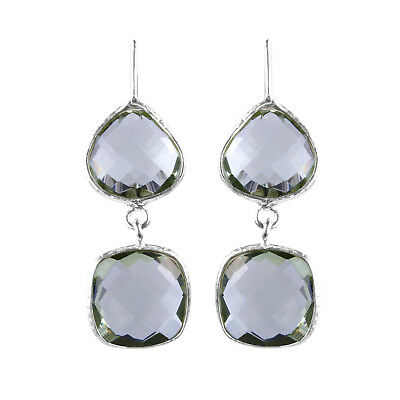 Green Amethyst Handcrafted Faceted Drop Sterling Silver Earring