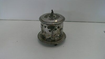 Antique Vintage James Dixon and Sons Plated Tea Caddy Rare Chinese Scene with Un