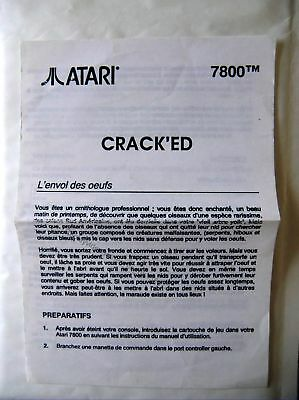 58472 Instruction Insert French - Crack'ed - Atari 2600 / 7800 (1987) C3000