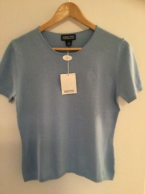 NWT Enron Logo Sweater Ladies Lands End Rare Collectable Size S (6-8) Light Blue