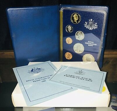 "Royal Australian Mint Proof Set 1986 Excellent Coin Set In Folder ""peace $1"""
