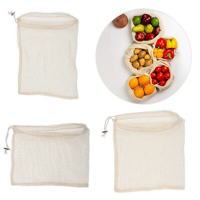 Reusable Produce Bags Washable Cotton Grocery Sack Vegetable Fruit Storage Pouch