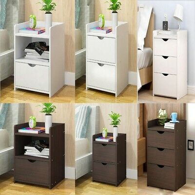 1/2/3 Drawers Wooden Bedside Table Cabinet Bedroom Furniture Storage Nightstand