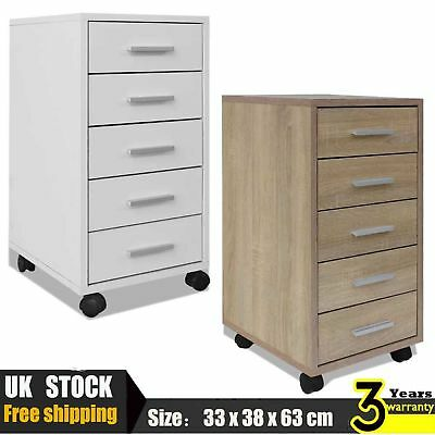 5 Drawers Home Office Filing Drawer Unit with Castors Cabinet Storage Organiser