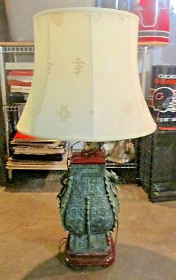 Vintage Green Metal Brass Wood Chinese Lamp with Dragon Rings and Cream Shade
