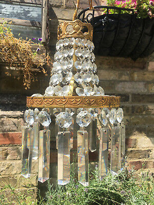 Sparkling  Vintage Lead Crystal Empire Style Chandelier Rewired