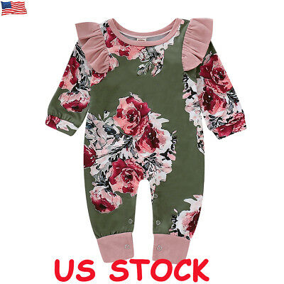 US Newborn Baby Girl Floral Clothes Long Sleeve Jumpsuit Romper Bodysuit Outfits