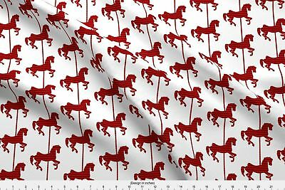 Red Horses Horse Carousel Animal Animals Fabric Printed by Spoonflower BTY