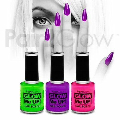 PaintGlow UV Reactive Neon Glow Nail Polish (3 Pack) Festival Halloween makeup