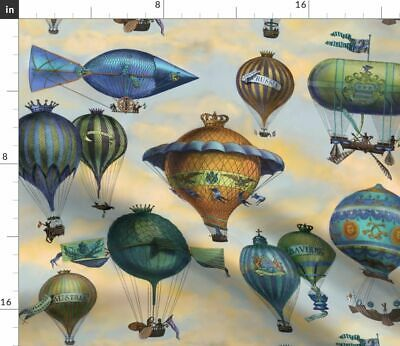 Steam Punk Steampunk Hot Air Balloons Vinta Fabric Printed by Spoonflower BTY