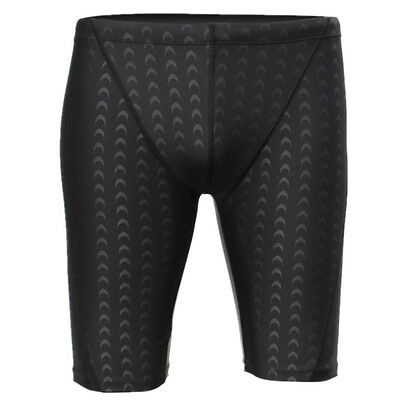 Men Plus Size Pro Competitive Swim Trunks Shark Skin Swimwear Underpant Black AU