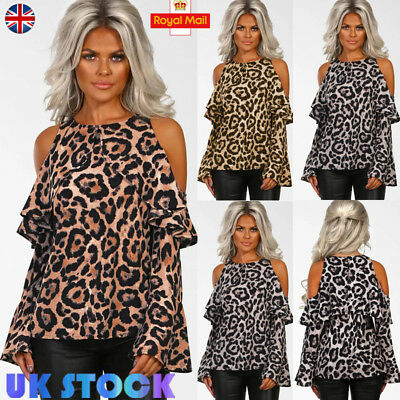 Women Leopard Cold Shoulder Tops Casual Party Ladies Frill Long Sleeve Tee Shirt